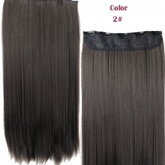 New Straight  Clips in False Hair Styling Synthetic Clip In Hair Extensions  for Valentine's Day Nature Black 59cm