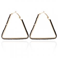 Bohemia Triangle Bead Hollow Hoop Earrings for Women Black One size