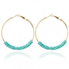 Bohemia Bead Round Hoop Earrings for Women Blue One size
