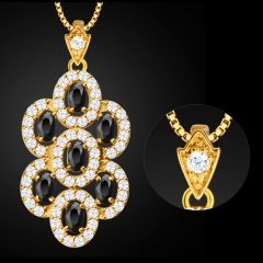 Grape Zirconia Hollow 18K Gold Plated Crystal Pendant Necklace for Lady Golden One size