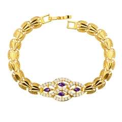 18k Gold Plated Luxury Crystal Jewelry Ladies Bracelet for Birthday Gift Golden One size