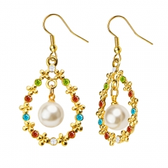 Crystal Flower Simulation Pearl 18K Gold Plated Drop Earrings for Lady Golden One size