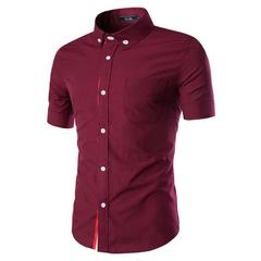Men's Slim Fit Short Sleeve Shirts 5 Colors Dark red 2XL