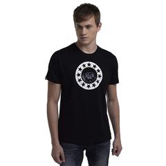 High Quality Fashion Design Cotton Material Star Pattern T-Shirt Black S