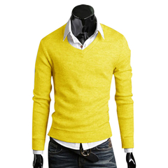 Men Stylish Slim Fit V-neck Sweater Solid Color Knitwear Yellow M