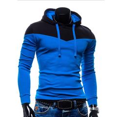 Spring Autumn Sports Men Hoodies Hat Strap Hit Color Blue+Black 2XL