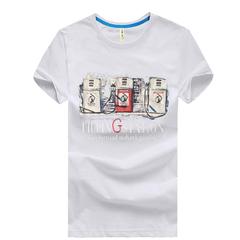 New Fashion Men Short-sleeved Round Neck Print T-shirt White M