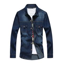 Men Solid color Long-sleeved Denim Shirt Dark blue 2XL