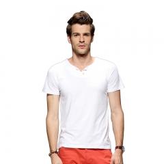 Fashion Men Pure Color V-neck Buttons Short Sleeve T-shirt White L