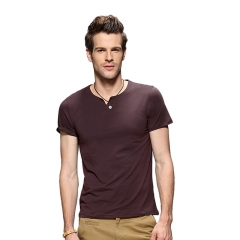 Fashion Men Pure Color V-neck Buttons Short Sleeve T-shirt Coffee 4XL