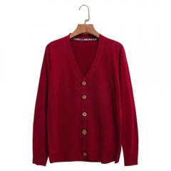 New Men Fashion V-neck Knit Cardigan Coat Sweatshirt Red L