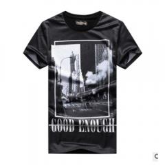 Men Sports Grid Leisure Round Collar T-shirt with Short Sleeves Black XL