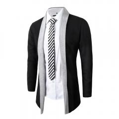 Men Fashion Cardigan Sweater Casual Knitted Coats Light gray 2XL