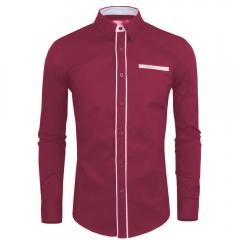 Men Simple Fashion Shirt Hit Color Wine red 2XL