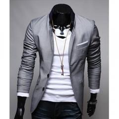Men Fashion Personalized Cool Dresses Suit Gray 2XL