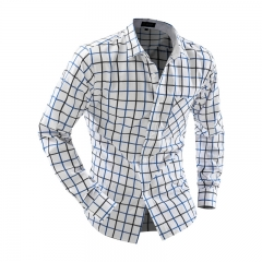 Casual Turn Down Collar Long Sleeve Plaid Print Pocket Design Shirt Blue and Black M