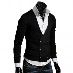 European Style Men Double-breasted Wool Knitted Sweater Coats Black M