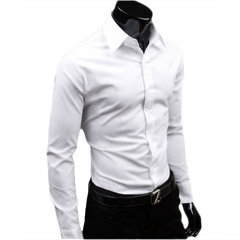 Men Fashion Casual and Simple Solid Color Long-sleeved Shirt White L