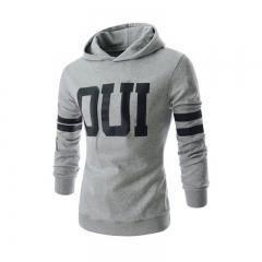 Men Fashion Letter Prited Slim Jacket Pullover Hoodies Light gray 2XL