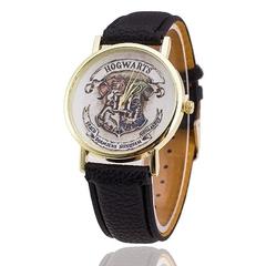 Hot Fashion Casual Women Leather Quartz HOGWARTS Watches black