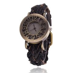 Women Vintage Quartz Watches Cow Leather Bracelet Watches Braided Women Dress Watches Dropshipping black