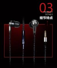 Original Stereo Bass earphone Headphones Metal handsfree Headset 3.5mm Earbuds for all Mobile Phone black