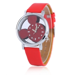 Fashion Mickey Women Watches 2016 quartz casual transparent hollow dial leather Red