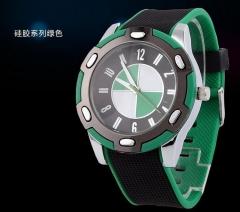 BWM Aqua Ceramic Style Silicone Gel Band Crystal Women's Watch green