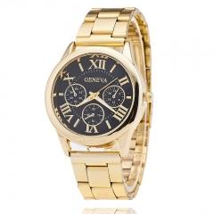 New Stainless Steel Geneva Watch Men Gold Watches Watched Luxury Men Business Quartz Watch black
