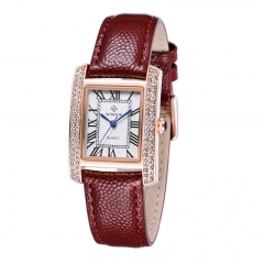 Fashion Watch Women luxury Brand Genuine Leather Rose Gold Square Dial watches Ladies 1