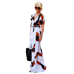 Fashion Women Irregular Printing Dress Sexy Deep V-neck Dress with Belt White S