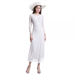 Long Sleeve Lace Dress Round Neck Bodycon Elegant Dress Embroidery Fitted Floor-length Dress white S