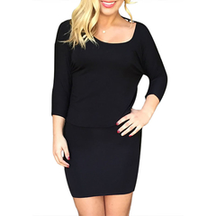 GAMISS Backless Dress Woman Round Collar Sexy Style Short Dress Black M