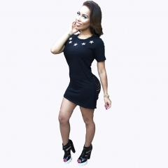 Summer Sexy Hole Hollow Out Design Woman Casual Style Digital Print Dress Black S