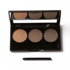 3 Color Cosmetic Eye Shadow Makeup Palette Kit Set with Brush 1#