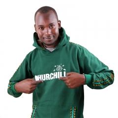 Churchill Branded Hoodie With Ankara Detail - Green, M