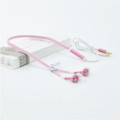 Hot Sale!Glowing Earphones Metal Zipper Headset Luminous Light Stereo Handsfree For All Mobile Phone Pink