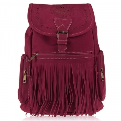 Retro Engraving and Fringe Design Women Satchel red one size
