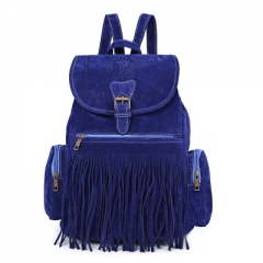Retro Engraving and Fringe Design Women Satchel deep blue one size