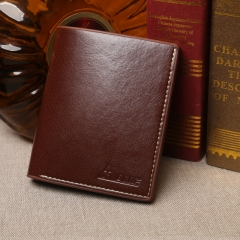 Man short purse leather PU wallet  vertical youth leisure business models wallet Brown One Size