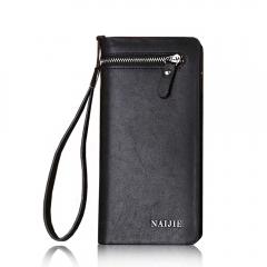 Men's Long Wallet head layer cowhide Wallet Purse youth double zipper wallet Black One Size