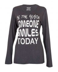 Pewter Grey - Printed Text Long Sleeve T-Shirt Pewter Grey s
