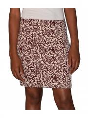 Maroon and Beige Women Mini Skirt maroon and beige s