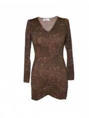 Brown Leopard Print Womens Dress brown l