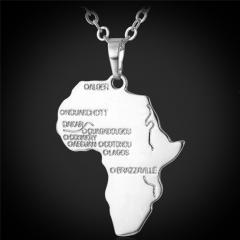 African Map Pendant Necklace 18k Gold/Platinum/Black Gun/Rose Gold Plated Pendant Women/Men Jewelry Platinum Plated