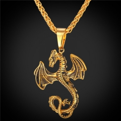 Hiphop Animal Pendant Necklace Stainless Steel Dragon 18k Gold Plated Punk Rock Men Jewellery 18k Gold Plated