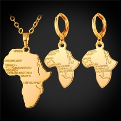African Map Jewellery Sets 18k Gold/Platinum/Rose Gold/Black gun Plated Necklace Earrings Sets 18k gold plated one size