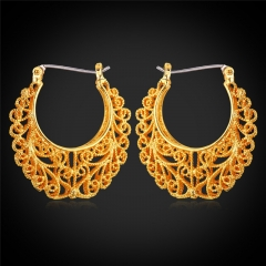 Vintage Hoop Hollow Earring For Women Platinum/18k Gold Plated Women Jewellery Hoop Earring 18k gold plated one size
