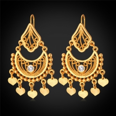 Vintage Drop Earring For Women 18k Gold/Platinum Plated Rhinestone Crystal Earrings Women Jewellery 18k gold plated one size