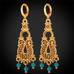 Vintage Style Dangle Earring For Women Platinum/18K Real Gold Plated Turquoise Stone Drop Earring 18k gold plated one size